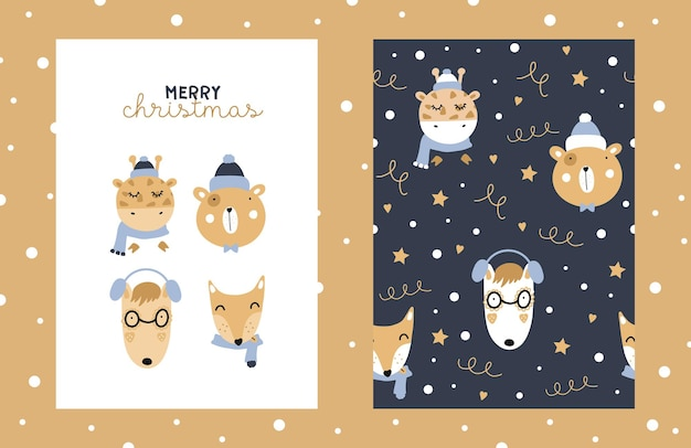 Illustration und nahtloses muster mit niedlichen tieren mit sternen und schneeflocken