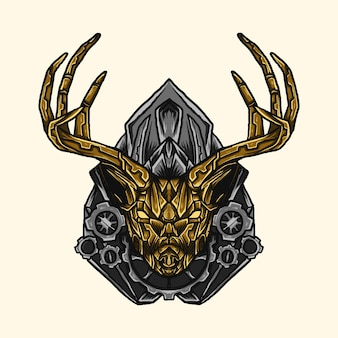 Illustration und t-shirt design golden deer roboter mecha