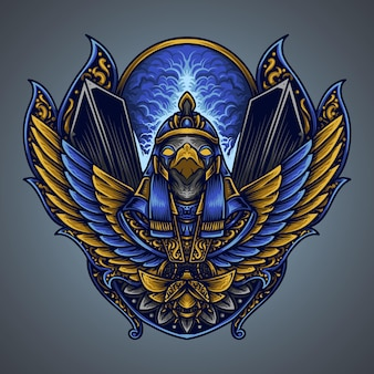 Illustration und t-shirt design horus gravur ornament