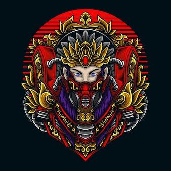 Illustration und t-shirt design schönheit frauen mit gasmaske gravur ornament