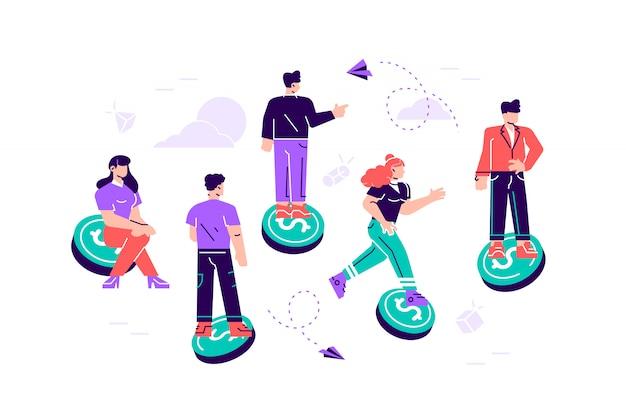 Illustration, united business team fliegt rittlings auf dem weg zum ziel und erfolg. zielteam. flache art moderne designillustration für webseite, karten, soziale medien