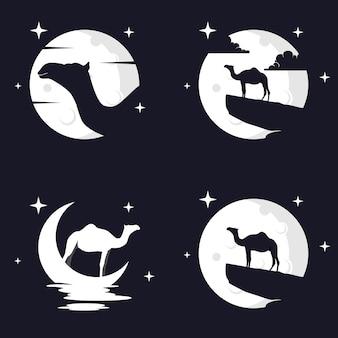 Illustration vektorgrafik von kamel mit mond-hintergrund. perfekt für t-shirt oder event