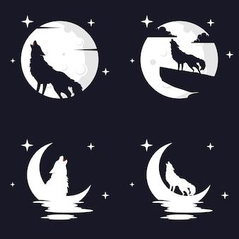 Illustration vektorgrafik von wolf mit mond-hintergrund. perfekt für t-shirt oder event