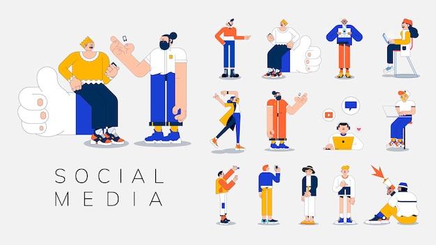 Illustration verschiedener leute auf social media-vektor