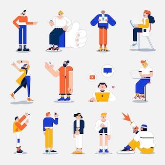 Illustration verschiedener menschen in sozialen medien