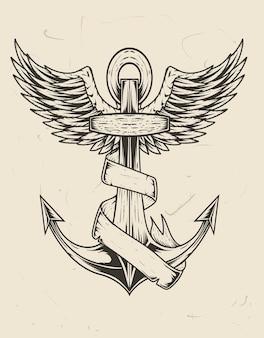 Illustration vintage anker schiff mit dämonenschädel und rosenblume