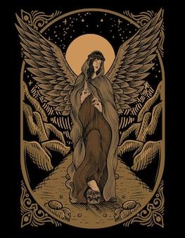 Illustration vintage-engel mit gravur-stil