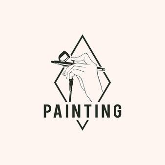 Illustration vintage hand hält tattoo sprayer malerei werkzeuge kunst logo design vektor
