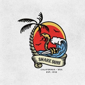 Illustration vintage schlangen-surfen-logo-abzeichen