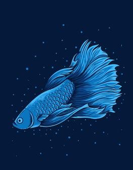 Illustration vintage schöner betta fisch