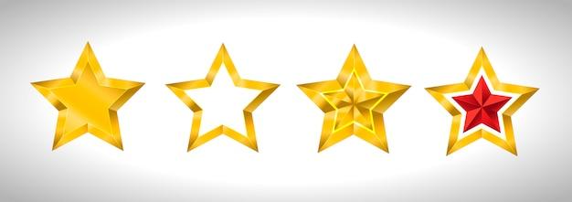 Illustration von 4 goldenen 3d-sternen
