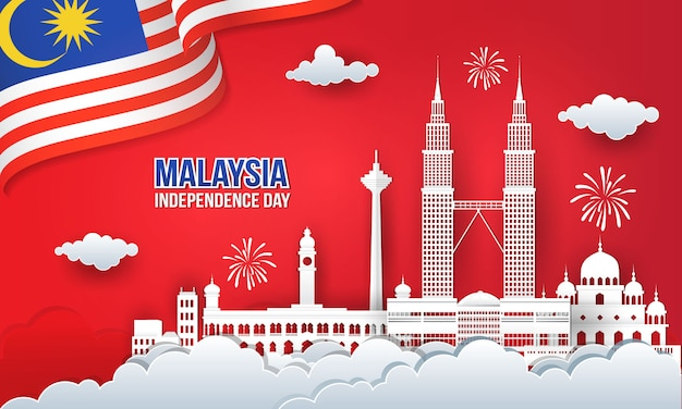 Illustration von 63 jahren malaysia independence day feier mit skyline der stadt, malaysia flagge und feuerwerk in papierschnitt und digitalem bastelstil