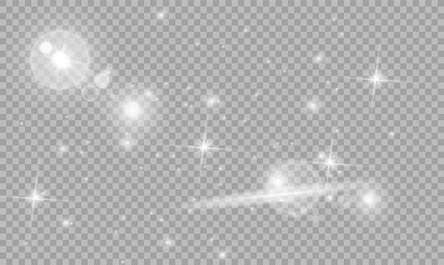 Illustration von abstrakten fackellichtstrahlen. eine reihe von sternen, licht und strahlung, strahlen und helligkeit. glühlichteffekt.