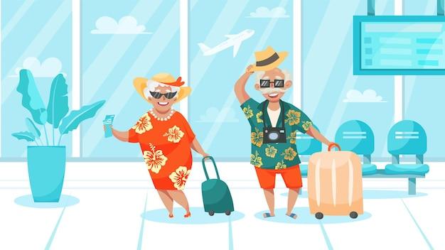 Illustration von älteren menschen, die sich auf den urlaub vorbereiten