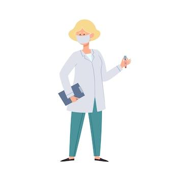 Illustration von ärztinnen in schützender gesichtsmaske mit blutschlauch lokalisiert auf weiß. medizinische mitarbeiter, die schutz vor städtischer luftverschmutzung, durch luft übertragenen krankheiten und coronavirus tragen.