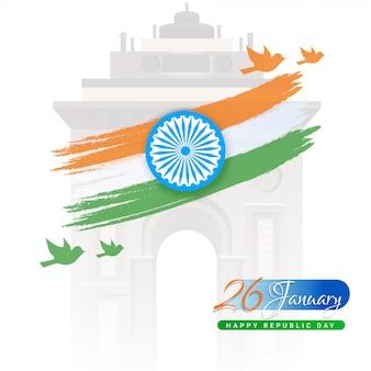 Illustration von ashoka wheel mit dreifarbigem bürstenanschlag, fliegender taube und india gate-monument auf weiß für den 26. januar, glückliche tag der republik-feier.