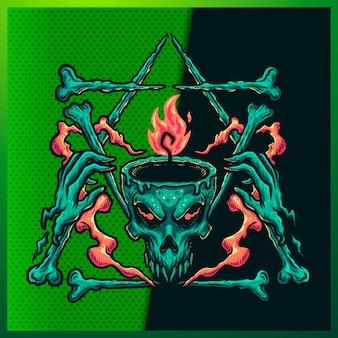 Illustration von awesome fire head skull mit einem lächeln, horn, knochen und dreieck auf dem grünen hintergrund. handgezeichnete illustration für maskottchen-esport-logo