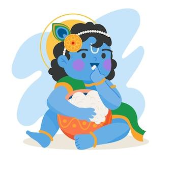 Illustration von baby krishna, die butter isst