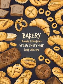 Illustration von bäckereilebensmitteln auf schwarzer tafel. poster oder vorlage des designmenüs