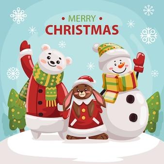 Illustration von bär und weihnachtskaninchen und schneemann im weihnachtshintergrund für ihre grußkarte oder irgendein produkt