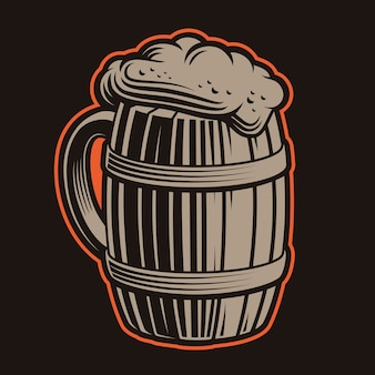 Illustration von bierkrügen auf einem dunklen hintergrund.