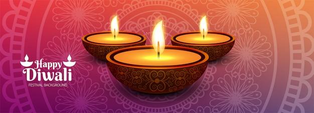 Illustration von brennendem diya auf glücklicher diwali-fahne