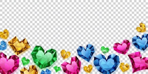 Illustration von bunten herzen aus kristallen mit schatten auf transparentem hintergrund