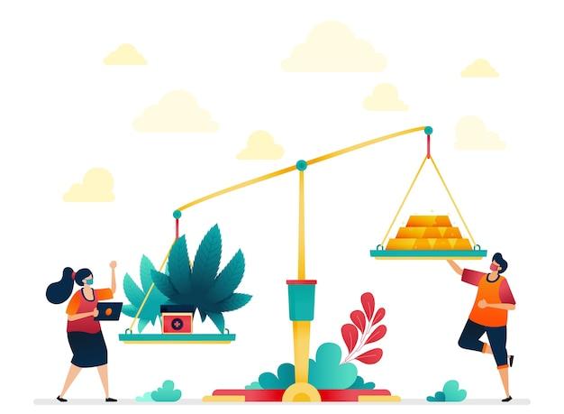 Illustration von cannabis und gold. wirtschaft auf teure medizin mit kräutern und marihuana.