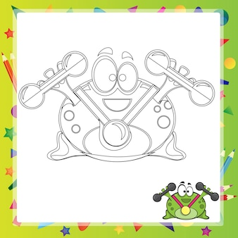 Illustration von cartoon frosch - malbuch - vektor