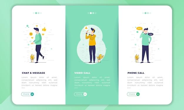 Illustration von chats oder nachrichten, von videoanrufen und von telefonanrufen in einer reihe von sammlungen