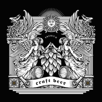 Illustration von craft beer in gravierten stil