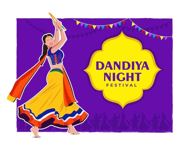 Illustration von dandiya in der disco garba night banner poster