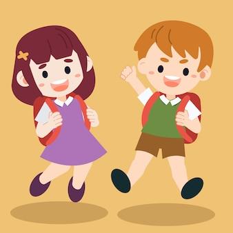Illustration von den glücklichen kindern der charakterkarikatur, die aus den grund springen.