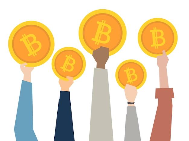 Illustration von den händen, die bitcoins zeigen