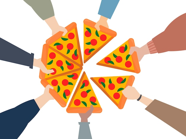 Illustration von den händen, die eine pizza teilen