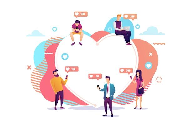 Illustration von den jungen leuten, die bewegliche geräte wie laptop und smartphone für social networking und das bloggen verwenden.
