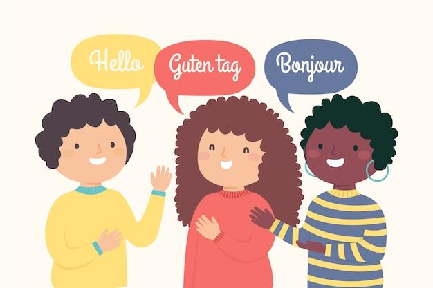 Illustration von den jungen leuten, die in den verschiedenen sprachen guten tag sagen
