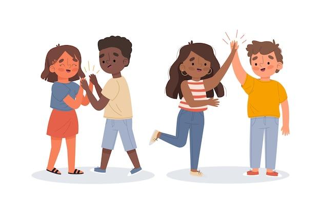 Illustration von den jungen leuten, die sammlung des hochs fünf geben