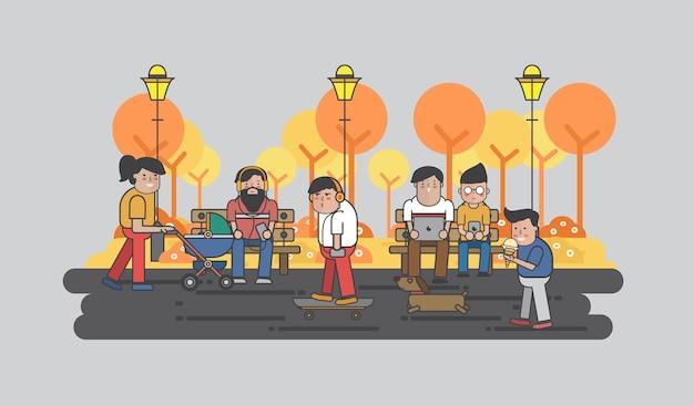 Illustration von den kerlen, die im park hängen