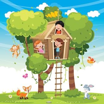 Illustration von den kindern, die am baum-haus spielen