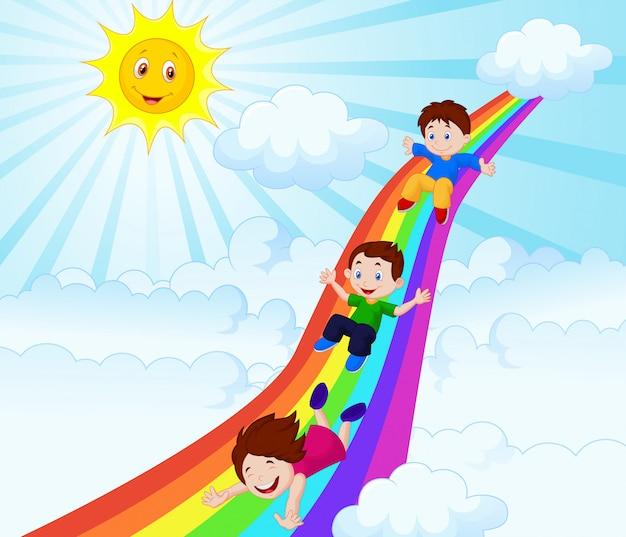 Illustration von den kindern, die hinunter einen regenbogen schieben