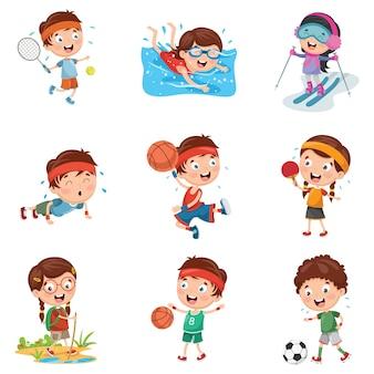 Illustration von den kindern, die sport machen
