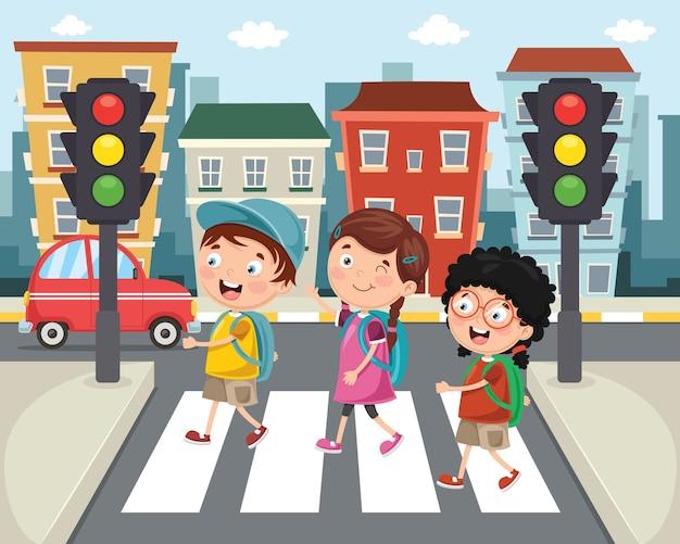 Illustration von den kindern, die über zebrastreifen gehen