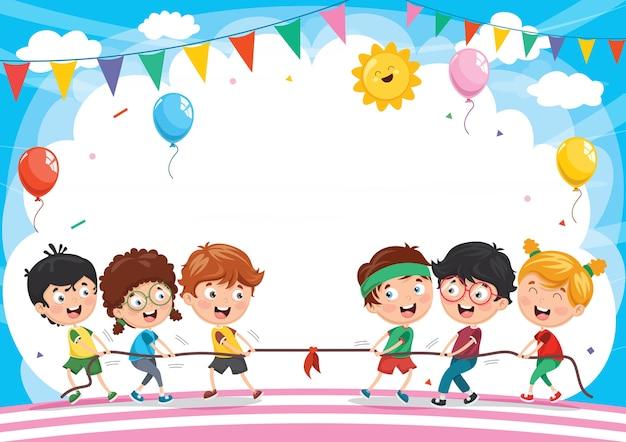 Illustration von den kindern, die zugseil spielen