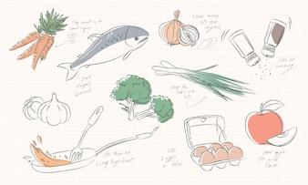 Illustration von den Lebensmittelikonen lokalisiert auf weißem Hintergrund