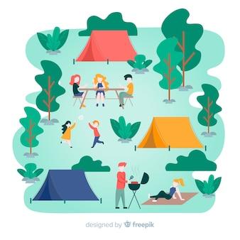 Illustration von den leuten, die das kampieren tun