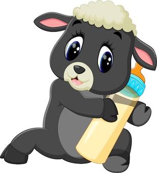 Illustration von den netten karikaturschafen, die milchflasche halten