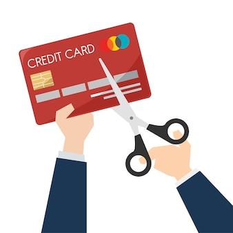 Illustration von den scheren, die eine kreditkarte schneiden