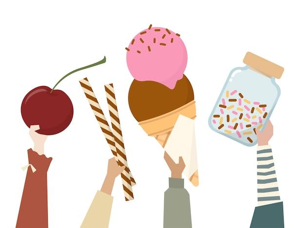 Illustration von den verschiedenen leuten, die bonbons halten