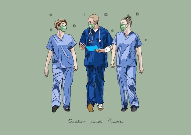 Illustration von doktor und krankenschwester im kampf gegen coronavirus / covid-19-pandemie / ausbruch